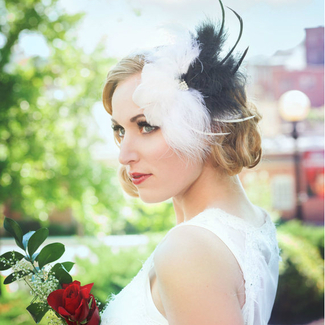 Art Deco Feather Headpiece in Black and White