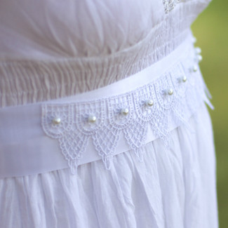 Bridal Sash with Lace and Pearls