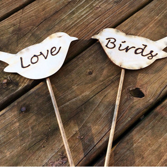 Love Birds Rustic Cake Topper