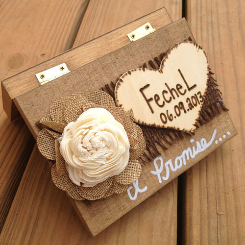 Shabby Chic Ring Bearer Box w/ Promise