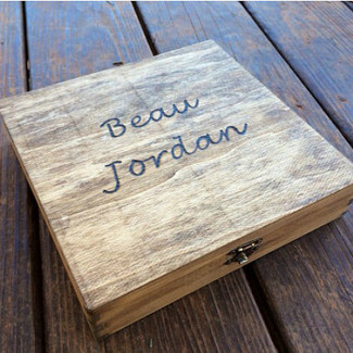 Engraved Wood Cigar Box