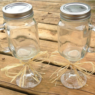 Mason Jar Wine Glasses - Set of 2