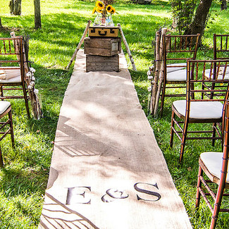 Burlap Aisle Runner With Equestrian Monogram