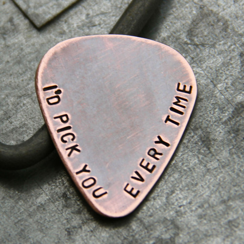 I'd Pick You - Guitar Pick in Copper