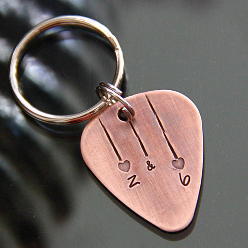 Custom Heartstrings Guitar Pick Keychain