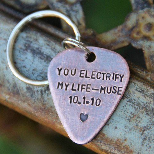 Custom Guitar Pick Keychain in Hand Stamped Copper