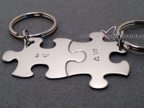 Initial Puzzle Piece Keychain