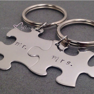 Mr and Mrs Puzzle Piece Keychain