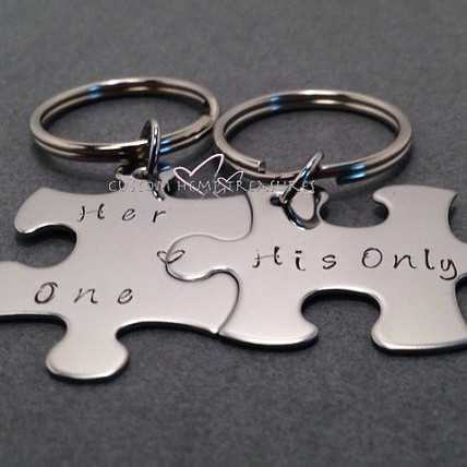 Her One His Only Keychains Puzzle