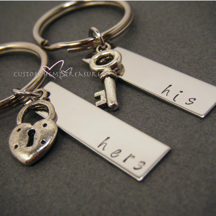 His Hers Rectangle Keychains