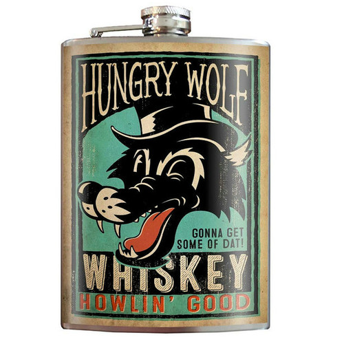 Hungry Wolf Whiskey Flask - 8 oz. stainless steel