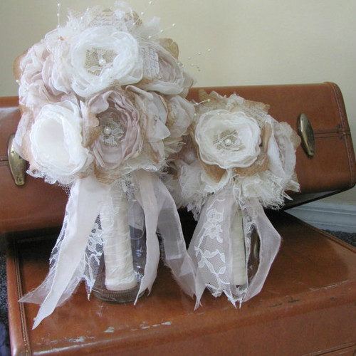 Pink Champagne and Ivory Bridal Bouquet with Bridesmaid Bouquet