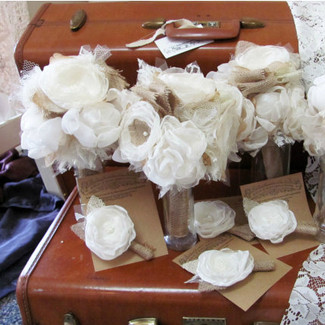 Bridal Party Bouquet Package w/ Boutonnieres - Set of 4