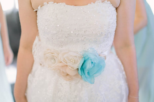 Bridal Sash Fabric Flowers