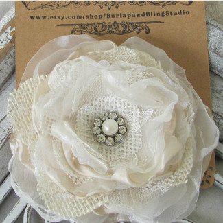 Bridal Hair  Burlap Flower