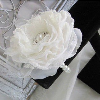 Wedding Wrist Corsage Bracelet with Fabric Flower
