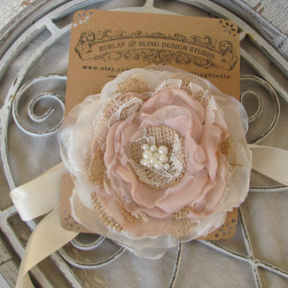 Burlap Corsage Wedding Accessory
