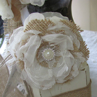 Alternative Burlap Wrist Corsage Pearl and Rhinestone Bracelet