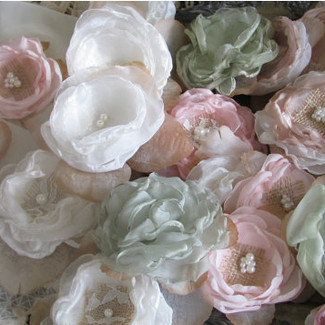 Fabric Flowers Wedding Decor - Set of 24