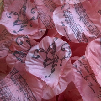 Flower Petals French Script in Coral