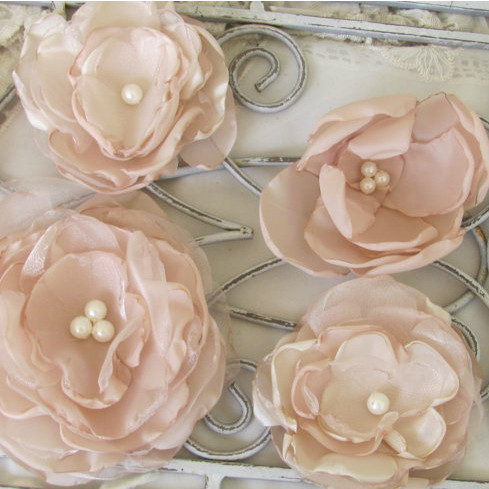 Wedding Cake Fabric Flowers - Set of 6