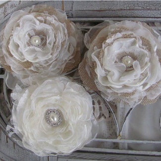 Wedding Cake Burlap Fabric Flowers - Set of 3
