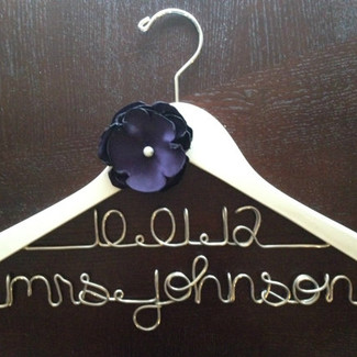 Bridal Hanger with Wedding Date and Handmade Eggplant Colored Flower