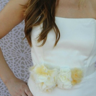 Yellow Bridal Sash with Flowers
