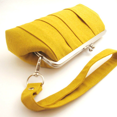 Mustard Yellow Pleated Clutch Purse