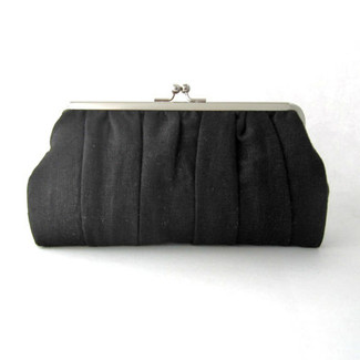 Black Pleated Clutch Purse
