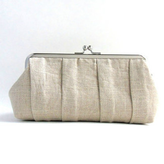 Linen Pleaded Clutch Purse