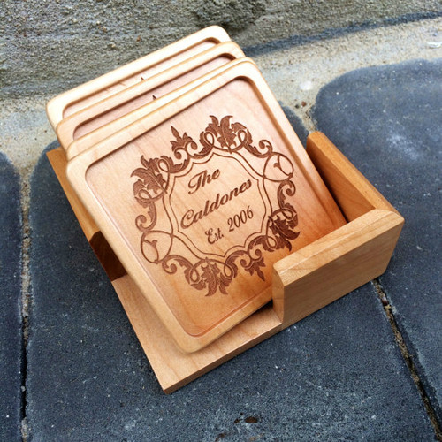 Personalized Wood Coaster Set