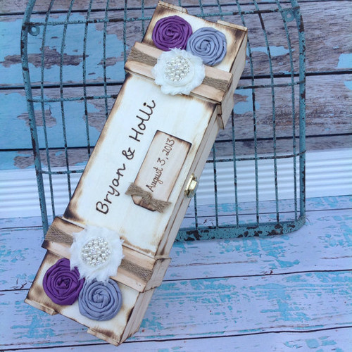 Rustic Wood Burned Wine Box