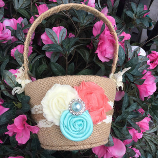 Burlap Flower Girl Basket