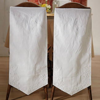 Mr. & Mrs. Linen Embroidered Chair Banners