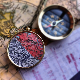 Personalized Two Map Necklace