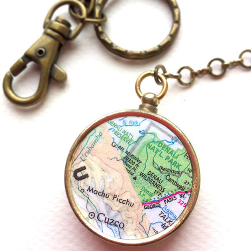 Personalized Keychain Map Compass