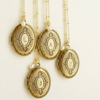 Bridesmaid Locket Initial Necklaces - 4 ct.