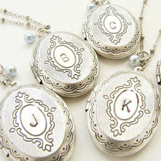 Bridesmaid Locket Initial Necklaces