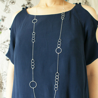 Silver Circles Long Necklace