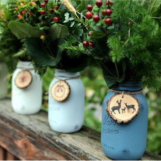Christmas Wedding Painted Mason Jars