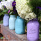 Turquoise and Purple Painted Mason Jars