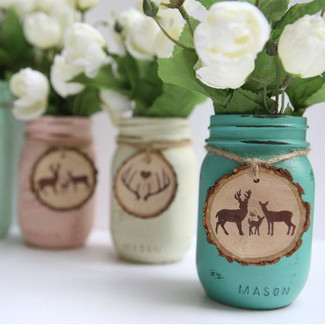 Woodland Wedding Painted Mason Jars
