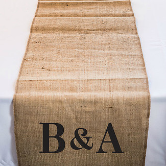 Personalized Long Burlap Table Runner w/ Equestrian Monogram