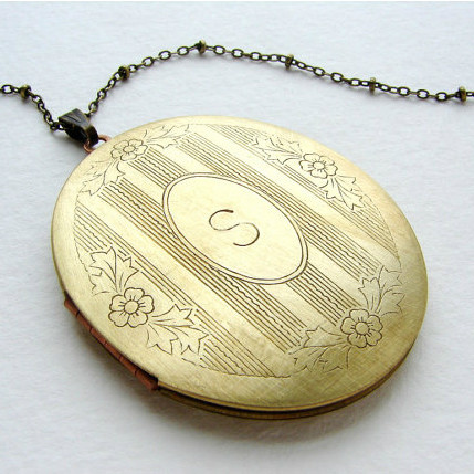 Vintage Brass Initial Locket Necklace