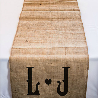 Personalized Long Burlap Table Runner w/ Vineyard Monogram