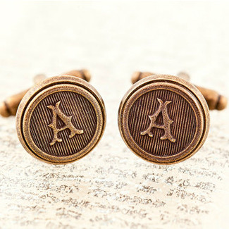 Antiqued Brass Letter Cufflinks