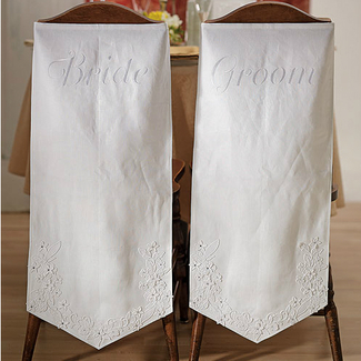 Bride & Groom Embroidered Chair Banners