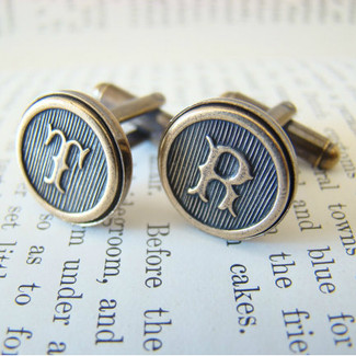 Antiqued Brass Initial Cufflinks