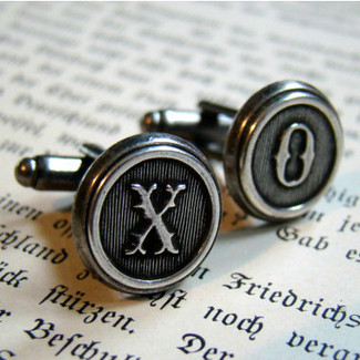 Antiqued Silver Letter Cufflinks